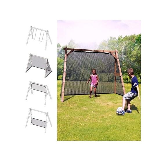 Axi - Gunga - Fotbollsmål - Volleyboll- Badminton- och Tennisnät - FamilyFun - Brun