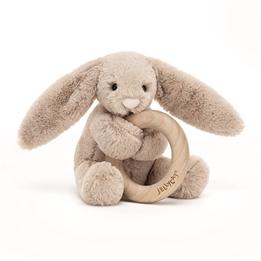 Jellycat - Gosedjur - Bashful Beige Bunny Wooden Ring Toy