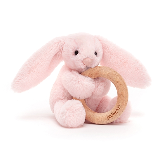 Jellycat - Gosedjur - Bashful Pink Bunny Wooden Ring Toy