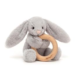 Jellycat - Gosedjur - Bashful Silver Bunny Wooden Ring Toy