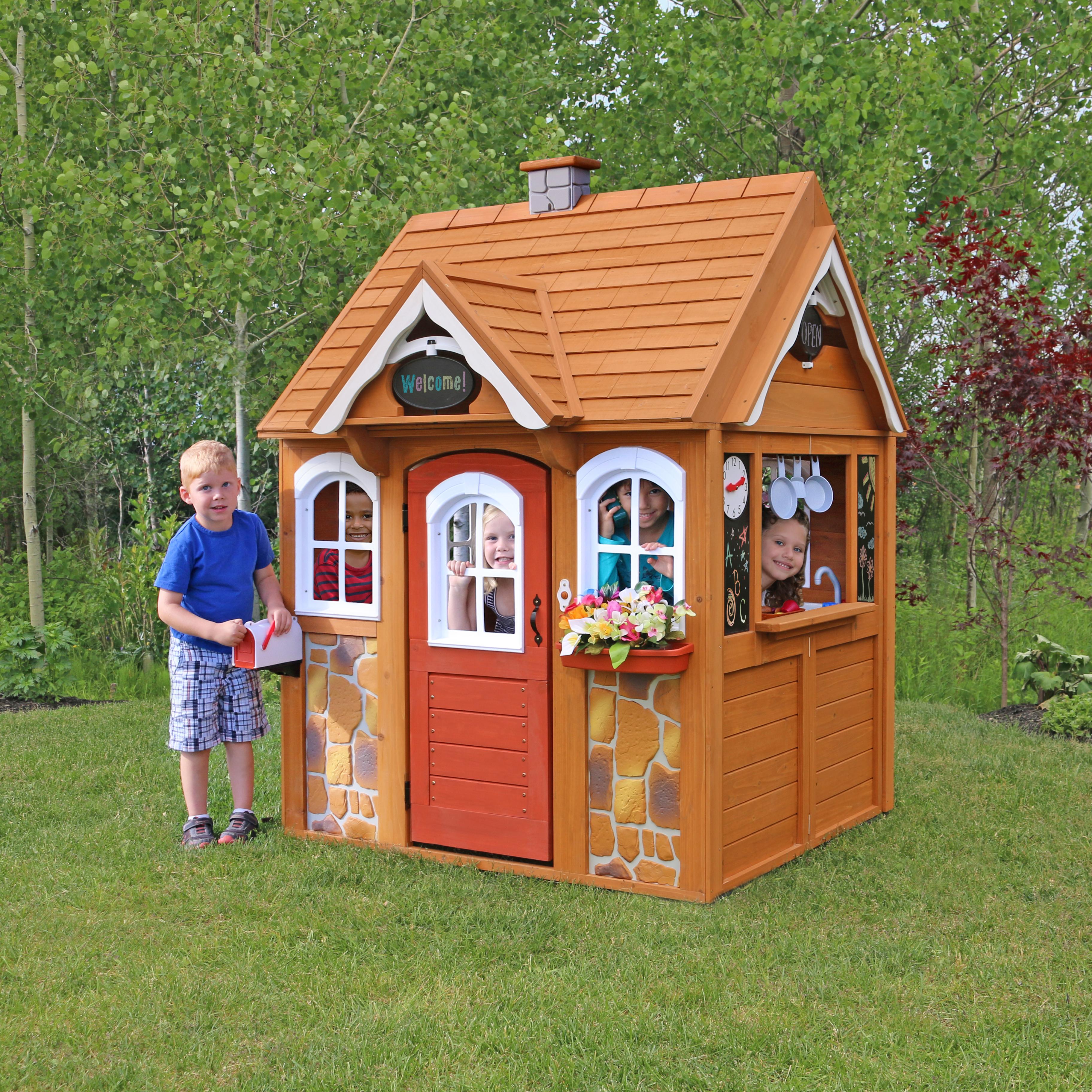 Kidkraft stoneycreek cedar outdoor playhouse litenleker - Casitas de juguete para ninas ...