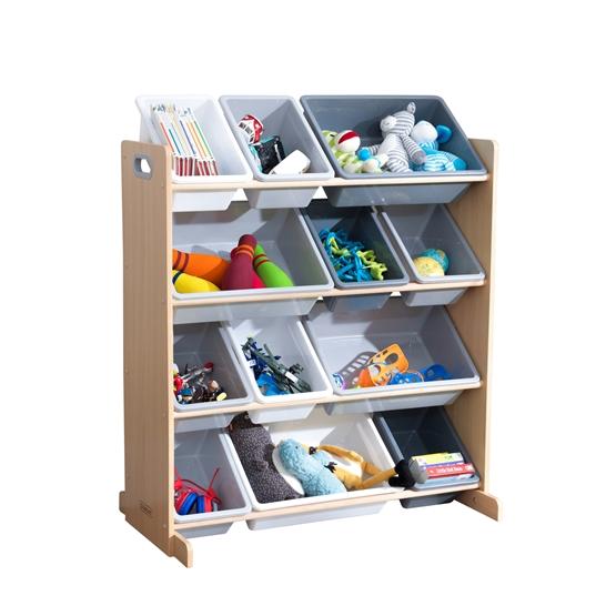 Kidkraft - Förvaringslådor - Sort It and Store It Bin Unit - Vit Och Grå