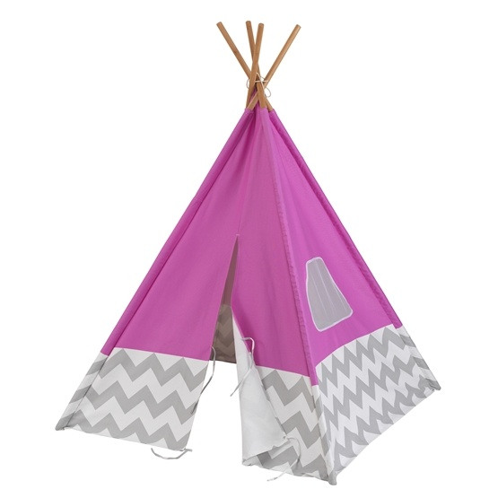 Kidkraft - Lektält - Play Teepee - Pink With Gray And White Chevron