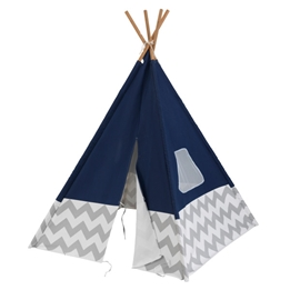 Kidkraft - Lektält - Play Teepee - Navy With Gray And White Chevron