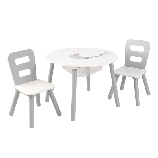 Kidkraft - Round Table And 2-Chair Set - Gray & White