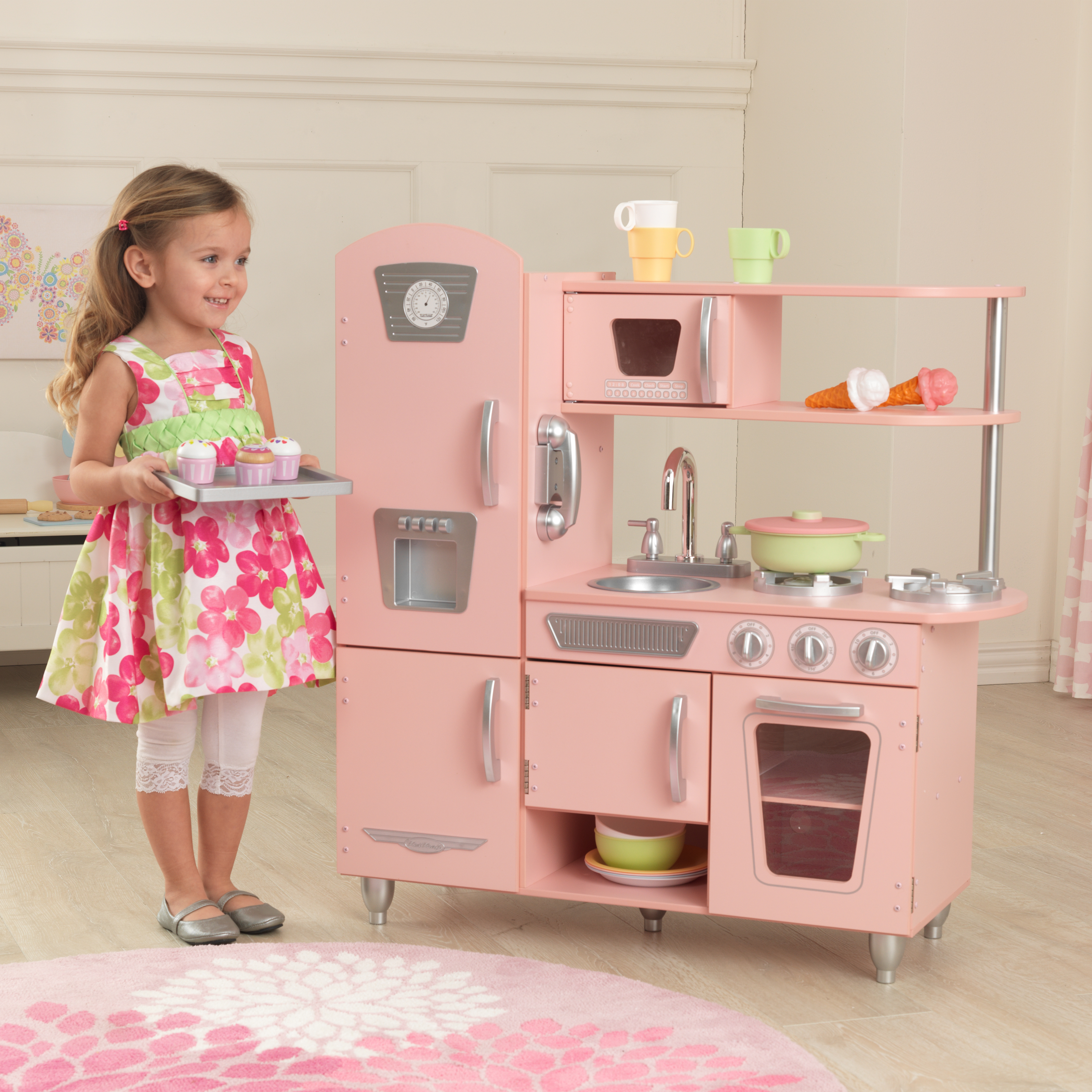 kidkraft - barnkök - pink vintage kitchen - litenleker.se