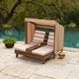 Kidkraft - Double Chaise Lounge With Cup Holders - Espresso With Oatmeal & White Stripes