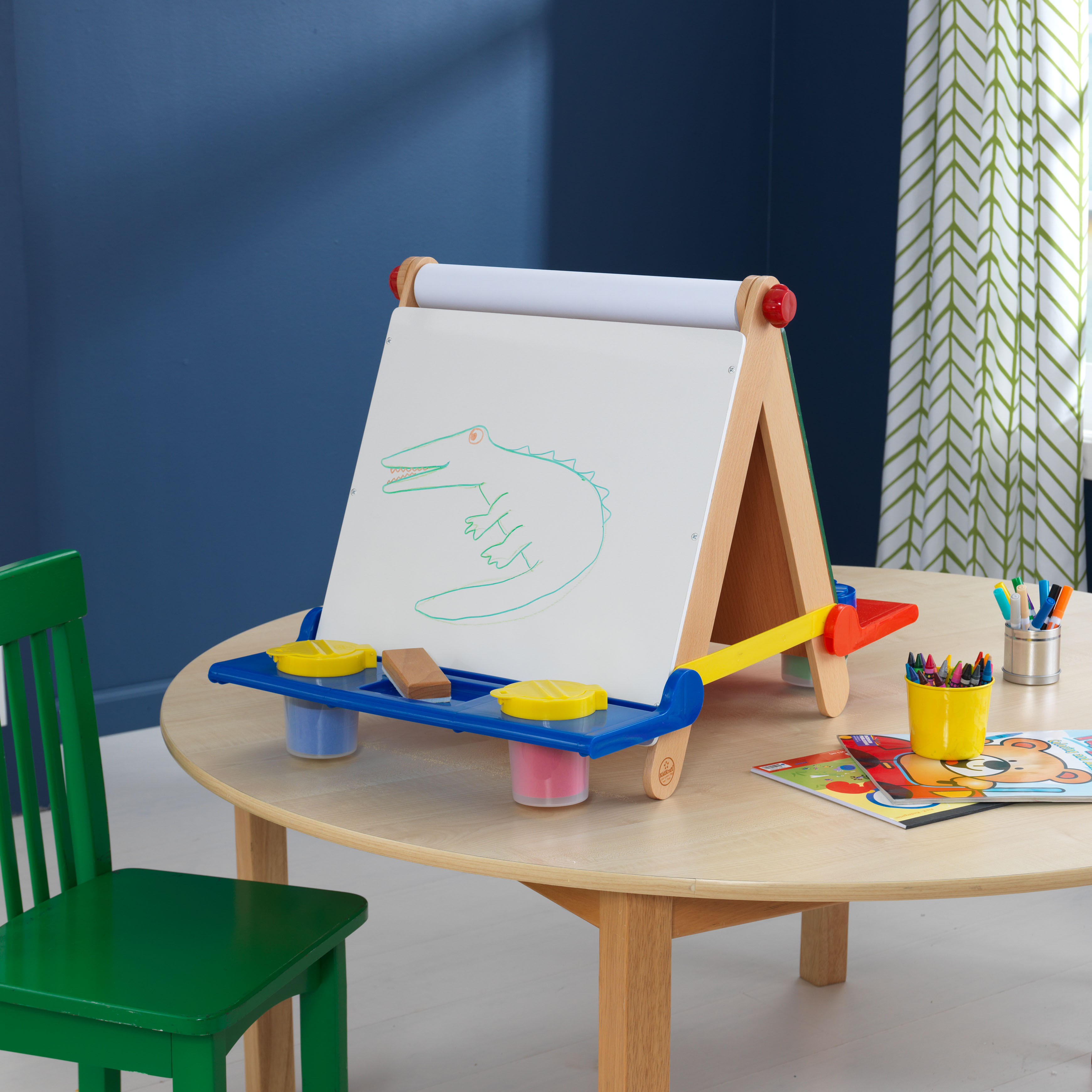 kidkraft tabletop easel natural with primary. Black Bedroom Furniture Sets. Home Design Ideas