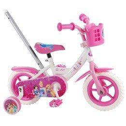 Disney Disneyprinsessor Barncykel 10 tum Deluxe - Styrstång, stödhjul (Vit/Rosa)