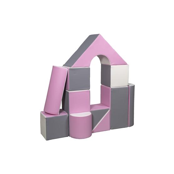 Byggkuddar - 11 stycken - Vit, Puderrosa, Grå