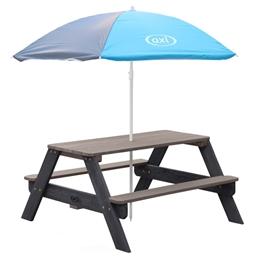Axi - Picknickbord Nick - Antracit/Grå - Parasoll Blå/Grå