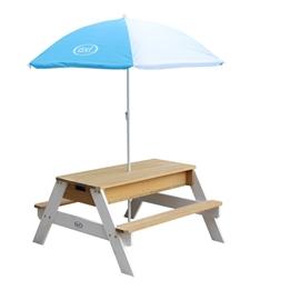 Axi - Sand/Vatten Lekbord Nick - Brun/Vit - Parasoll Blå/Vit
