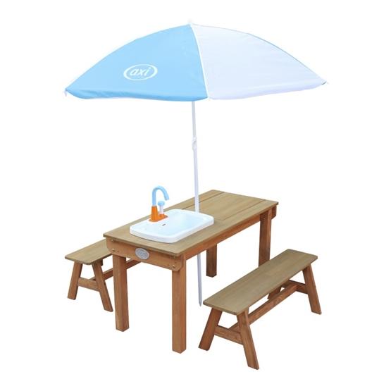 Axi - Picknickbord - Dennis Med Parasoll Och Handfat - Brun