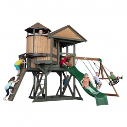 BYD - Lekställning - Eagles Nest Elite Play Tower with Swings, Slide and Lookout Tower