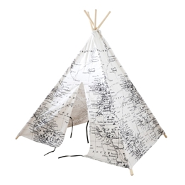Step2 - World Map Teepee Tent Black/white