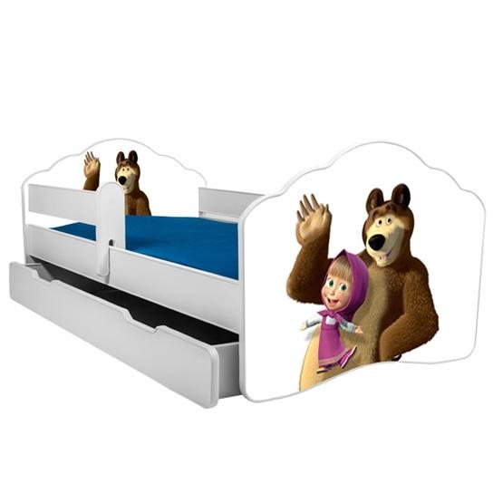 Barnsäng - Fala Med Madrass, Skyddskant Och Extrasäng - Masha And The Bear
