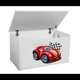 Förvaringslåda - Bil Med Flagga - Vit