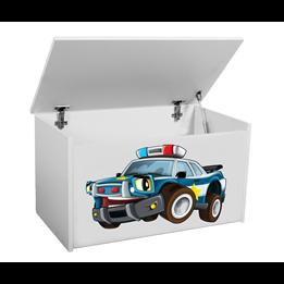 Förvaringslåda - Polisbil - Vit