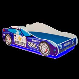 Barnsäng - Car Med Ledljus Och Madrass - Sherriff