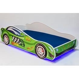Barnsäng - Car Med Ledljus Och Madrass - Speed L