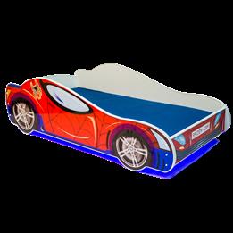 Barnsäng - Car Med Ledljus Och Madrass - Spider L