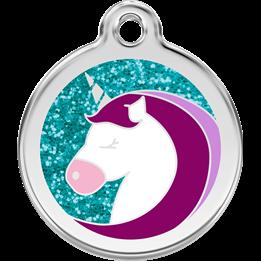 Red Dingo - ID-bricka Skolväska Glitter Enhörning Aqua