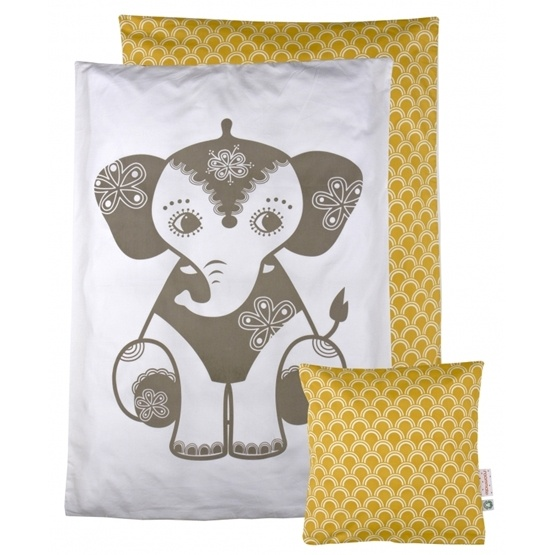 Roommate - Bedset - Soulmate Elephant - Baby Grey / Ochre
