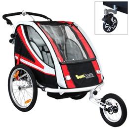 Cykelvagn - SunBee Supreme XL Barnvagnskit/Stroller - Svart/Röd