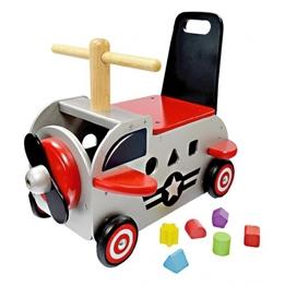 Im Toy - Gåbil Med Förvaring Plane Grå / Röd