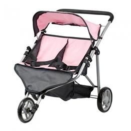 Mini Mommy - Dockvagn Tvillingvagn Rosa / Grå
