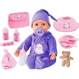 Bayer - Baby Piccolina Real Tears Lila 46 Cm 13-Piece