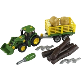 Klein - John Deere Timber And Hay Transport Tractor With Carriage 14 Cm