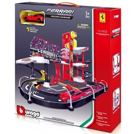 Bburago - Race & Play Garageset With Ferrari F12 1:43 Röd
