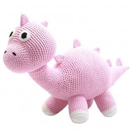 natureZOO - Mjukisdjur Dino Xl Crocheted 40 Cm Rosa