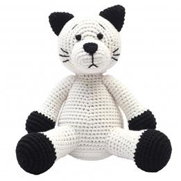 natureZOO - Mjukisdjur katt Xl Crocheted 40 Cm Vit