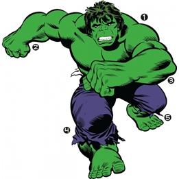 RoomMates - Väggklistermärken Marvel Classic Hulk 19 Pieces