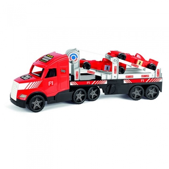 Wader - Car Transport Truck With Two Formula 1 Cars 79 Cm Röd