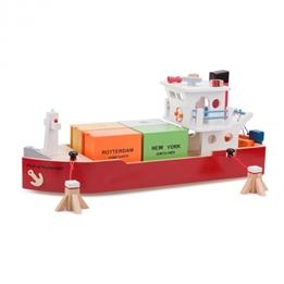 New Classic Toys - Containerbåt Med Tillbehör