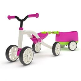 Chillafish - Fyrhjuling - Quadie Loopfiets Met Trailer Rosa/Lime