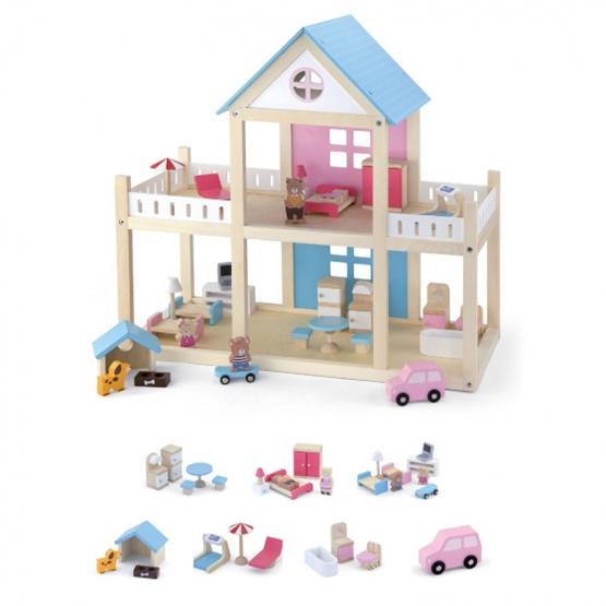 Viga Toys - Dockhus With Furnishings 50 X 41.7 X 22 Cm Wood