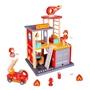 Tooky Toy - Play Set Fire Station 35 Cm Wood Röd 14-Piece