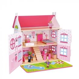 Tooky Toy - Dockskåp Med Tillbehör Rosa
