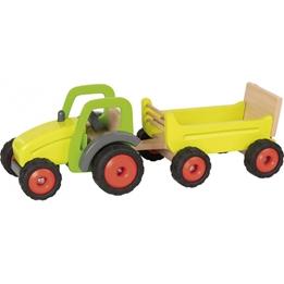 Goki - Traktor Med Släp Trä Gul 2-Delar