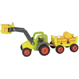 Goki - Traktor Med Balsamlare Trä 7 Delar