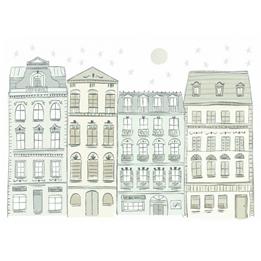RoomMates - Väggklistermärken Townhouses Grön