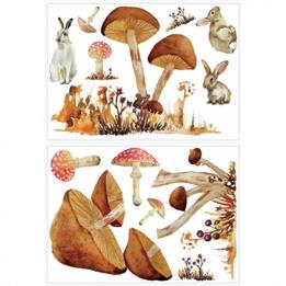 RoomMates - Väggklistermärken Mushroom Brun