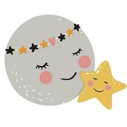 RoomMates - Väggklistermärken Moon & Star Grå/Gul