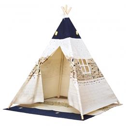 Bino - Play Tent Tipi Junior 150 X 120 Cm Cotton Beige/Blå