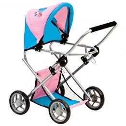 Bino - Doll Carriage Butterfly 65 Cm Rosa/Blå