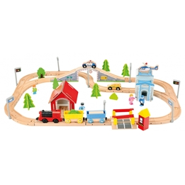Bino - Railway Track Junior 75,5 X 60,5 Cm Wood Natural 80-Parts